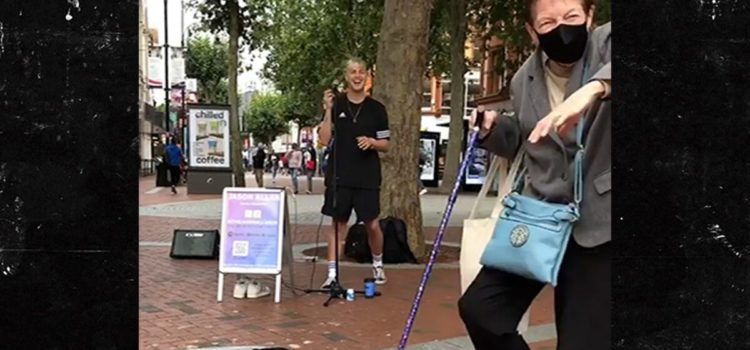 bbc-one's-jason-allan-inspires-old-woman-to-dance-while-busking-to-elvis